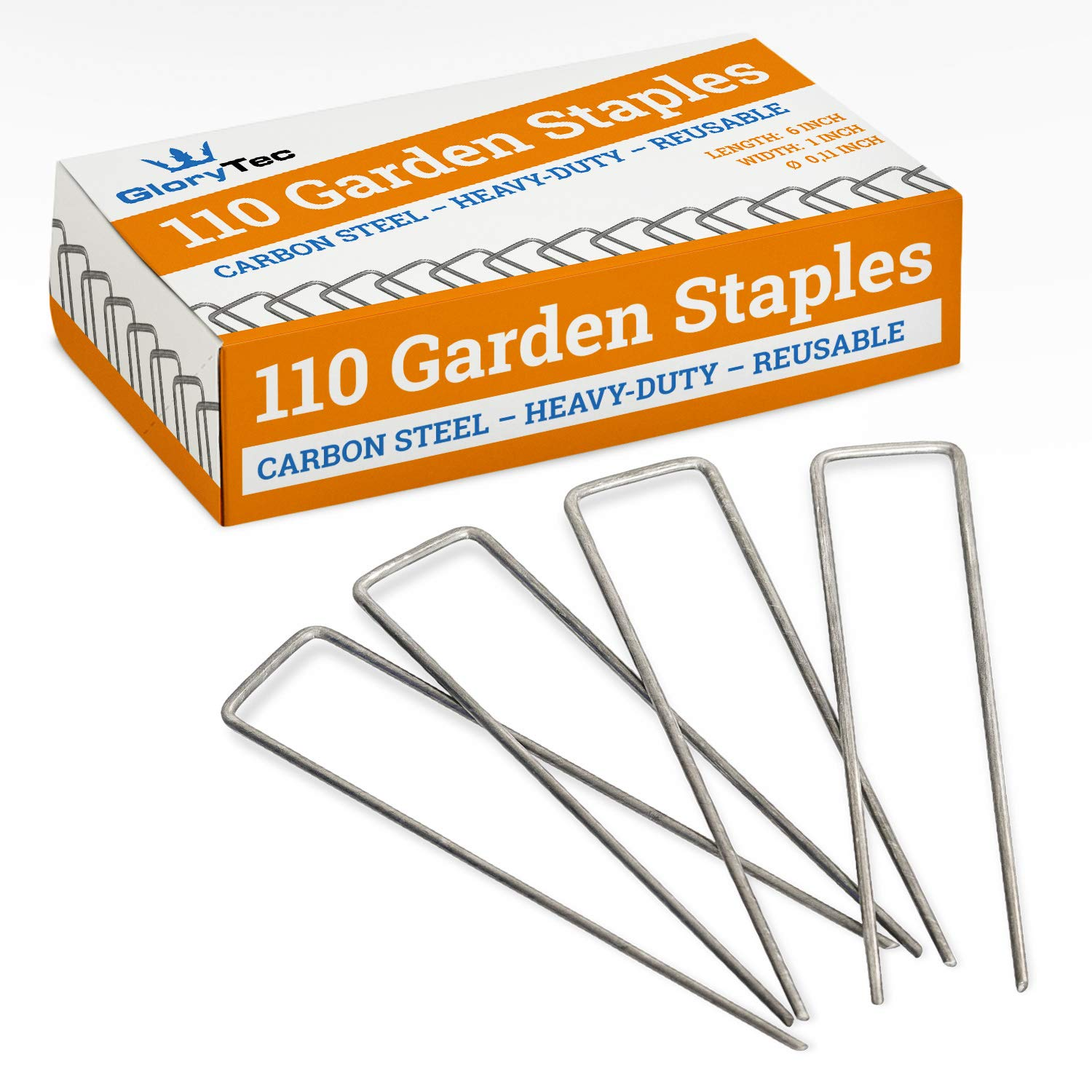 Glorytec 110 Landscape Stakes, 6 Inch 11 Gauge Steel Landscape Staples - Price-Performance Winner 2018- U-Shaped Invisible Fence Yard Stake Landscaping Pins, Carbon Steel Non-Galvanized
