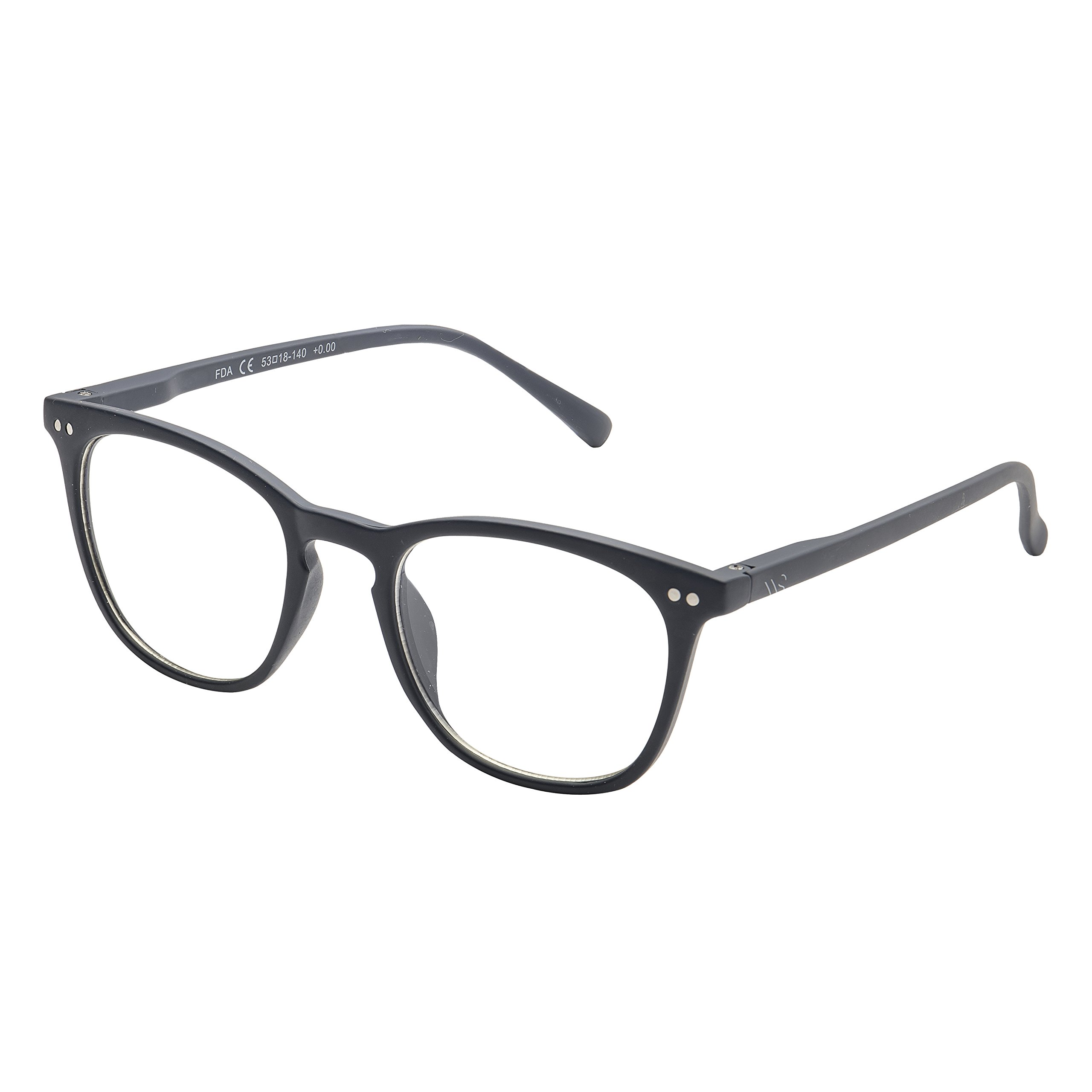 Blue Light Blocking Glasses with Anti-Glare,Cut UV400 Transparent Lens,Computer Reading Glasses,Anti Eyestrain/Anti Scratch/Anti Smudgy,Sleep Better for Women/Men (Navy Blue | No Magnification)