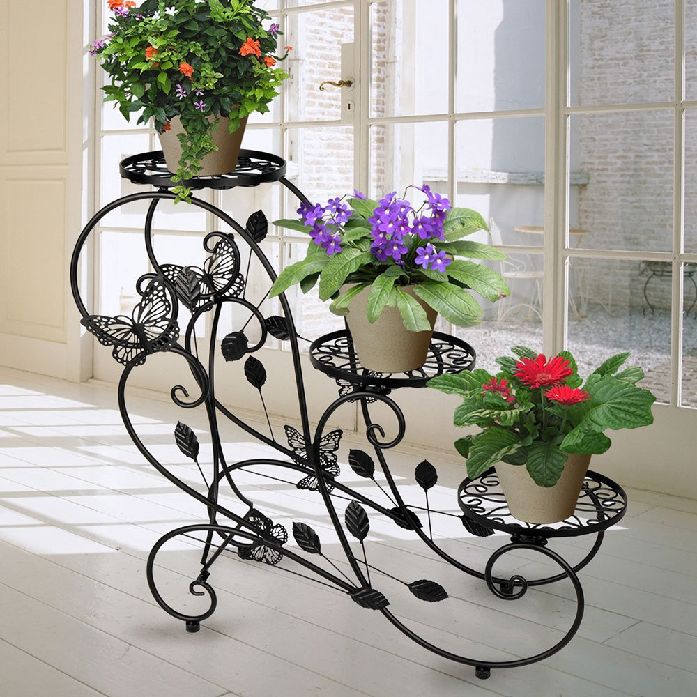 HLC Classic Plant Stand Shelf Holds 3-flower Pot Black by HLC