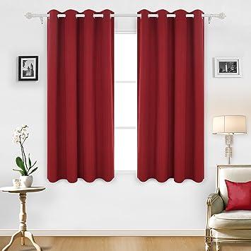 Deconovo Vorhang Streifen Ösen Gardinen Wohnzimmer Vorhänge Deko 180x140 Cm  Rot 2er Set
