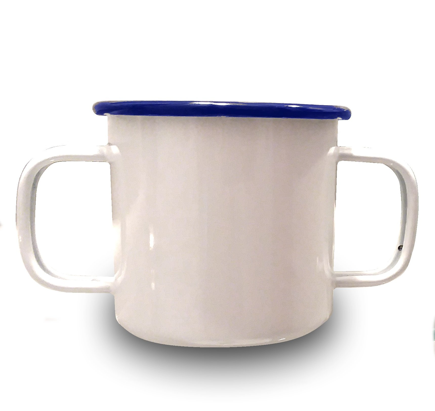 Two-Handled Steel 16 Ounce Cup for Easy Drinking with Essential Tremors and Arthritis