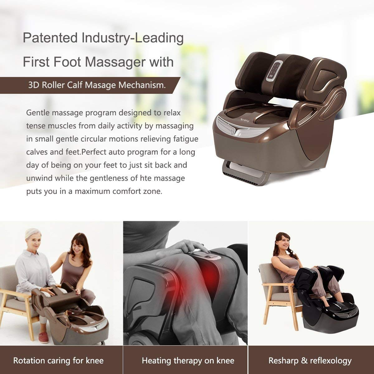 Indulge IF-868 leg foot massager for Knee & Muscle Pain Relief with  Airbags, Kneading, Rollers Vibration, Shiatsu and 17 different Massage  Combinations Machine by PowerMax I Home Use I Foot Spa: Amazon.in:
