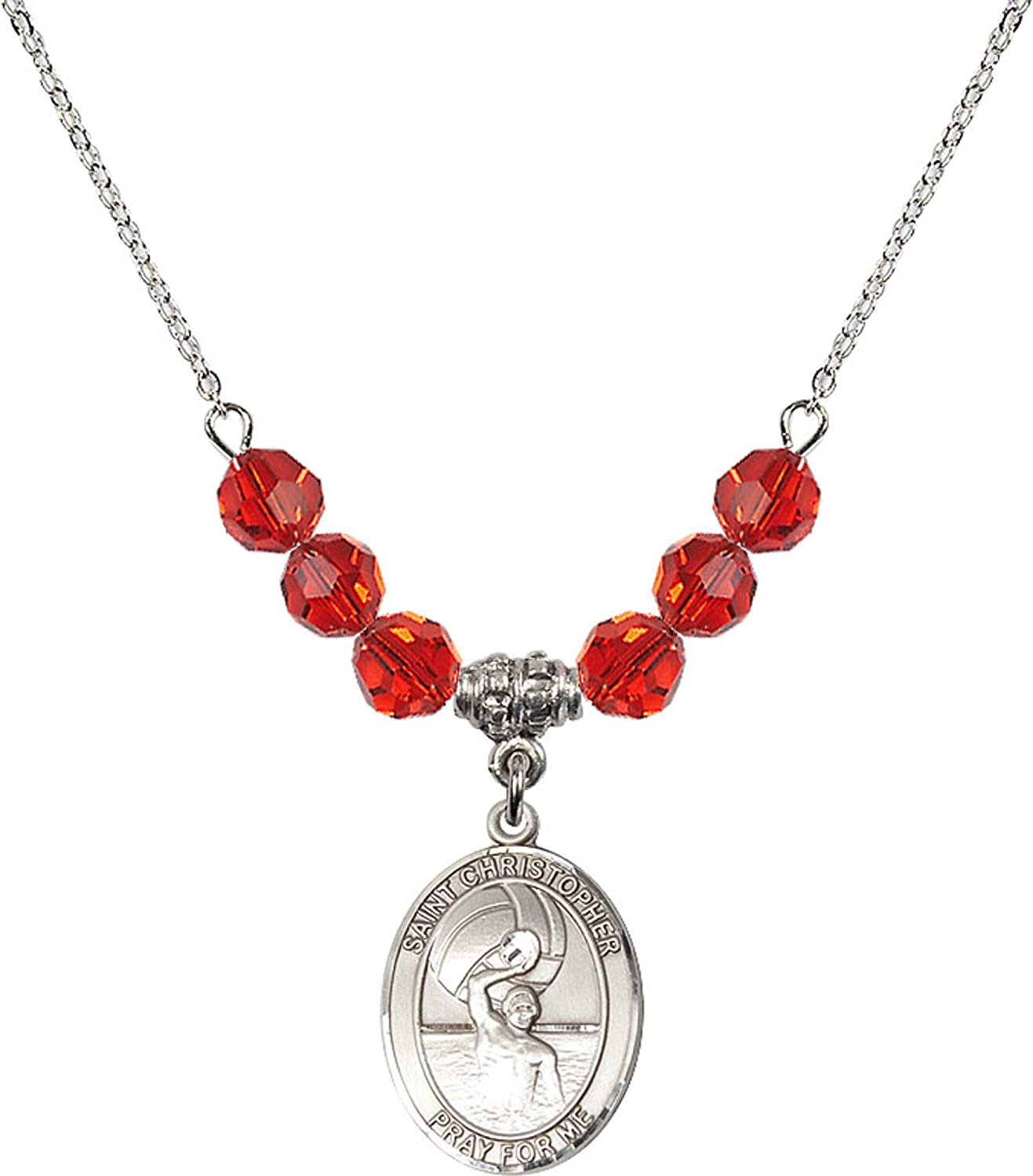 Bonyak Jewelry 18 Inch Rhodium Plated Necklace w// 6mm Red July Birth Month Stone Beads and Saint Christopher//Water Polo-Men Charm