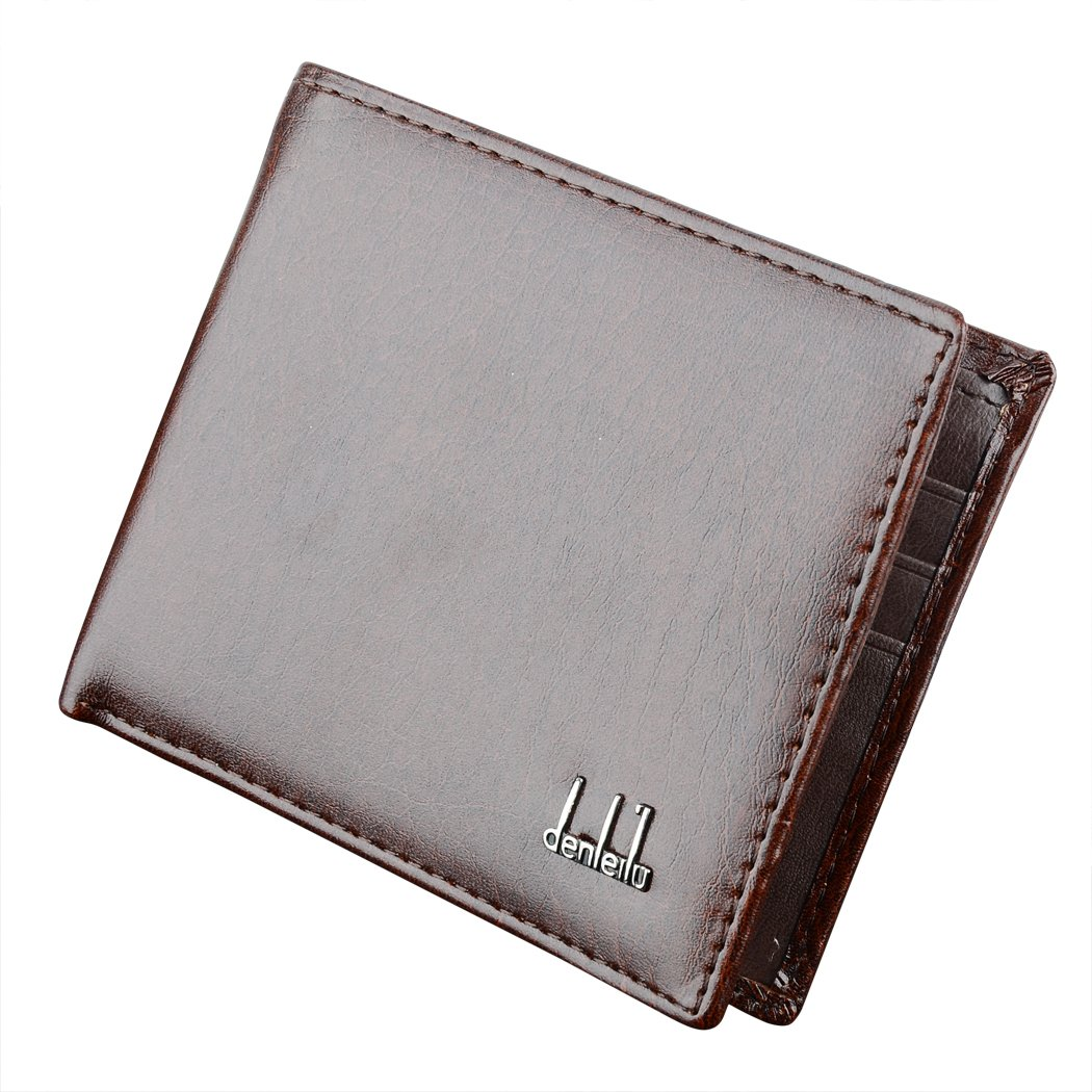 Men's Synthetic Leather Wallet Money Pockets Credit/ID Cards Holder Purse (Brown)