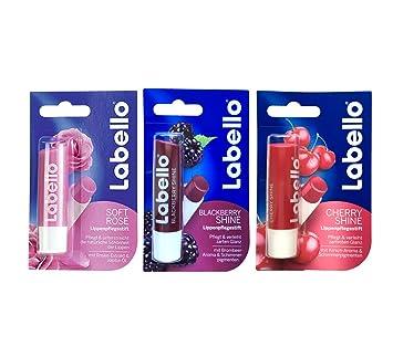 Labello Soft Rose, Labello Cherry Shine, Labello Peach Shine Lip Balm Bundle COLOPLAST Xtra-Care Moisturizer 8 oz. Bottle #402