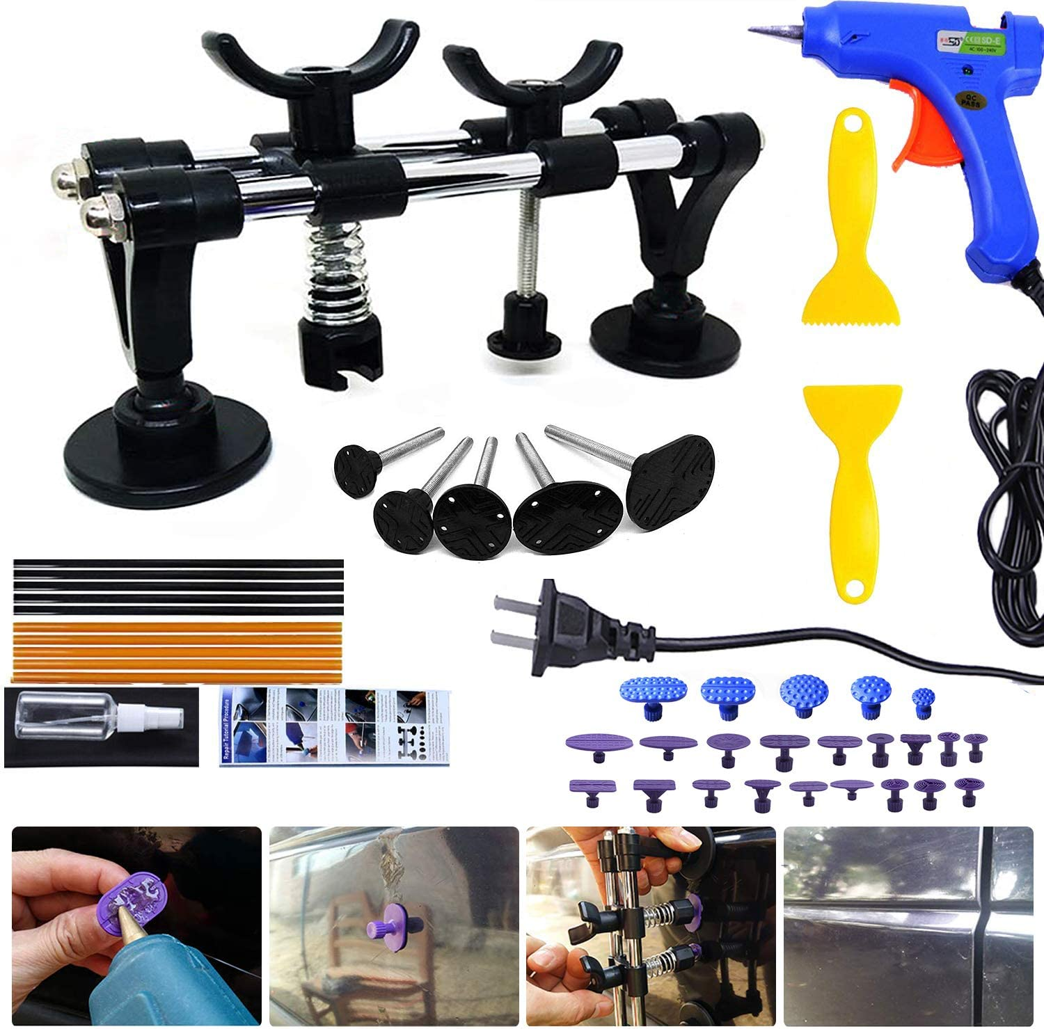 Auto Body Dent Repair Kit, PDR Car Dent Puller Auto Paintless Dent Removal Repair Tool Set Dent Lifter with Glue Gun, Glue Sticks, Glue Puller Tabs, Glue Shovel for Car Dent Remover and Hail Damage