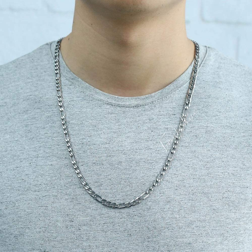 XUNHANG Punk Thick Chain Necklace Stainless Steel Necklace Mens Accessories Jewelry Hip Hop Necklace Color : Silver, Size : 9mm18inch