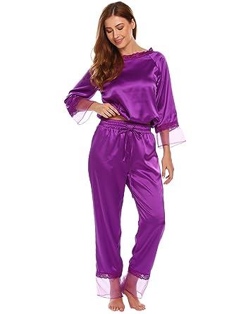 e296d458c18754 Ekouaer Damen Herbst/Winter Classischer Satin Schlafanzug Langarm Spitze  Pyjama N**AChtwäsche mit
