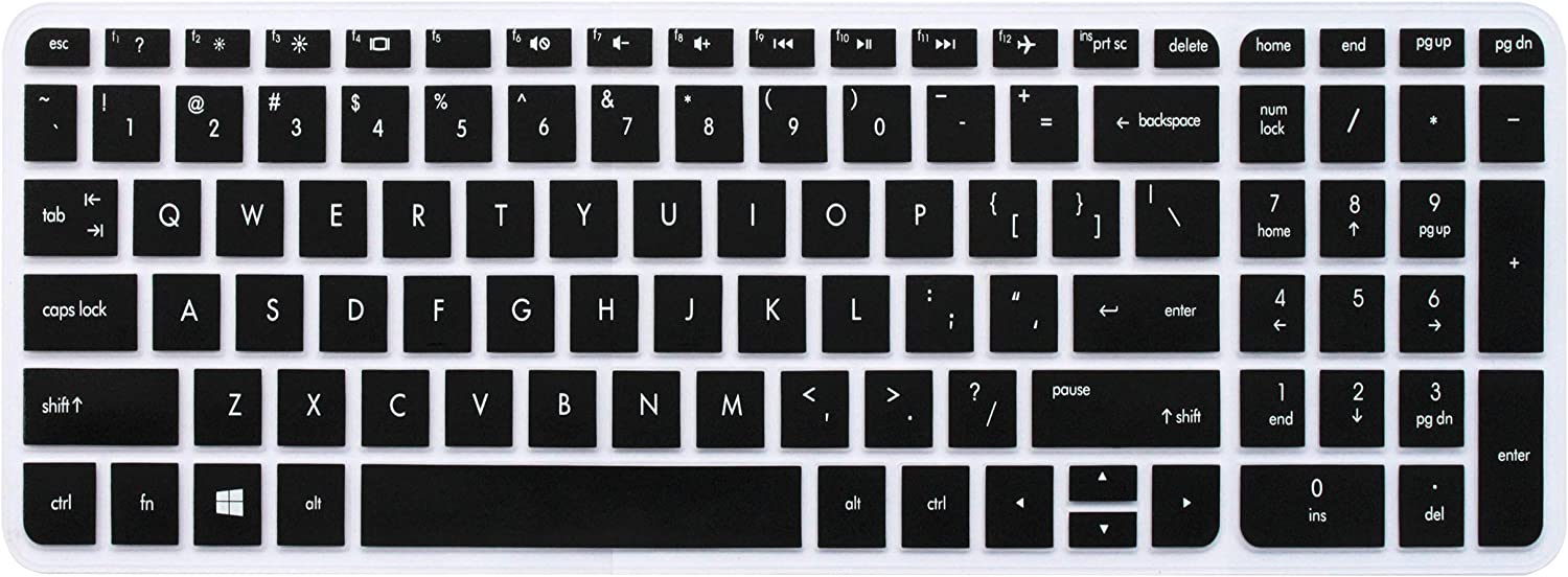 "Keyboard Skin for 15.6"" HP Pavilion 15-ab 15-ac 15-ae 15-af/ak/an/as/au/ax/ay 15-ba/bc/bk, HP Envy x360, HP Pavilion 17 17t, HP OMEN 17, HP Envy 17 M7 Series Laptop (Black) - with Round Corners"