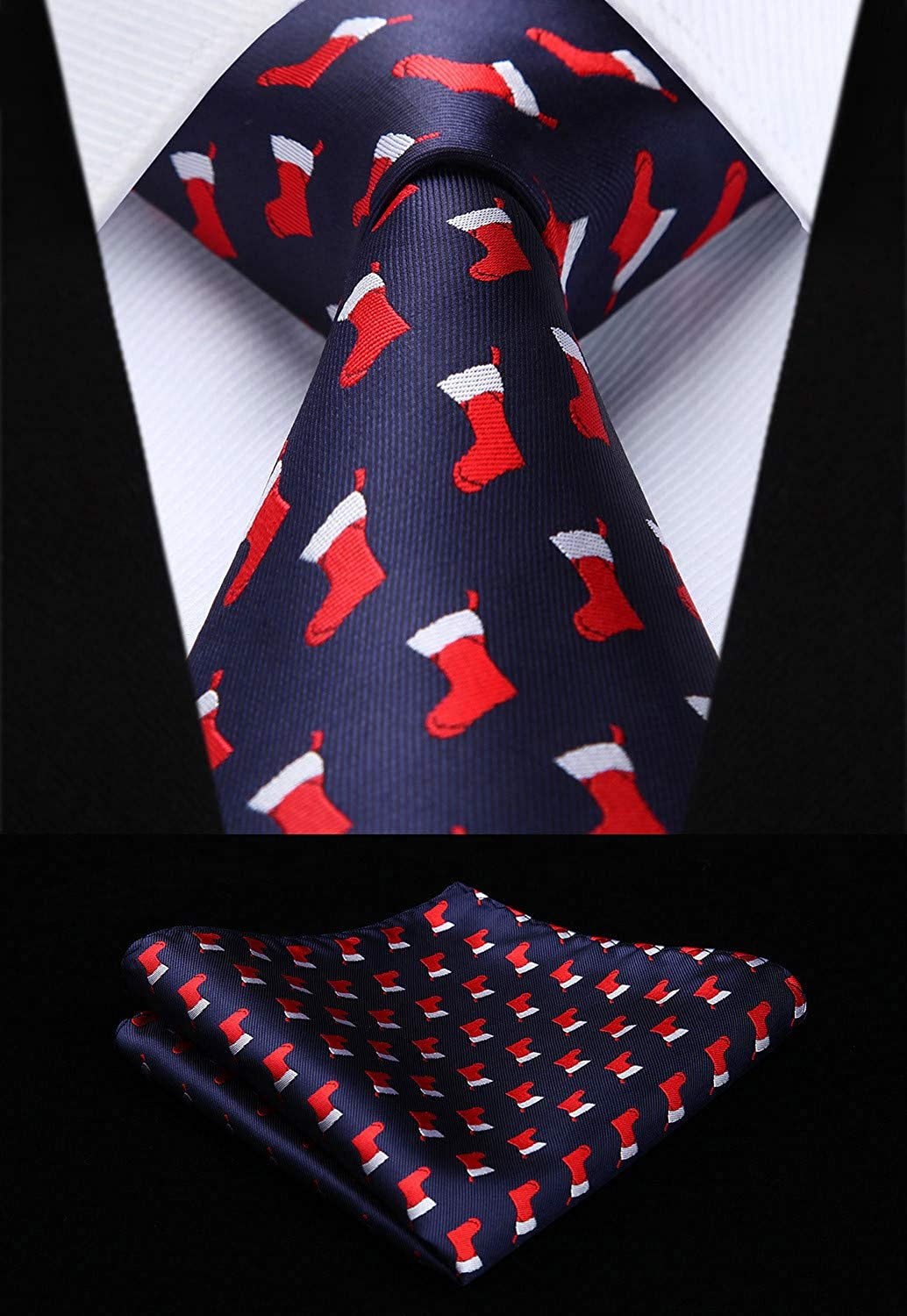 HISDERN Christmas Tie for Men Holiday Season Party Necktie /& Pocket Square Set