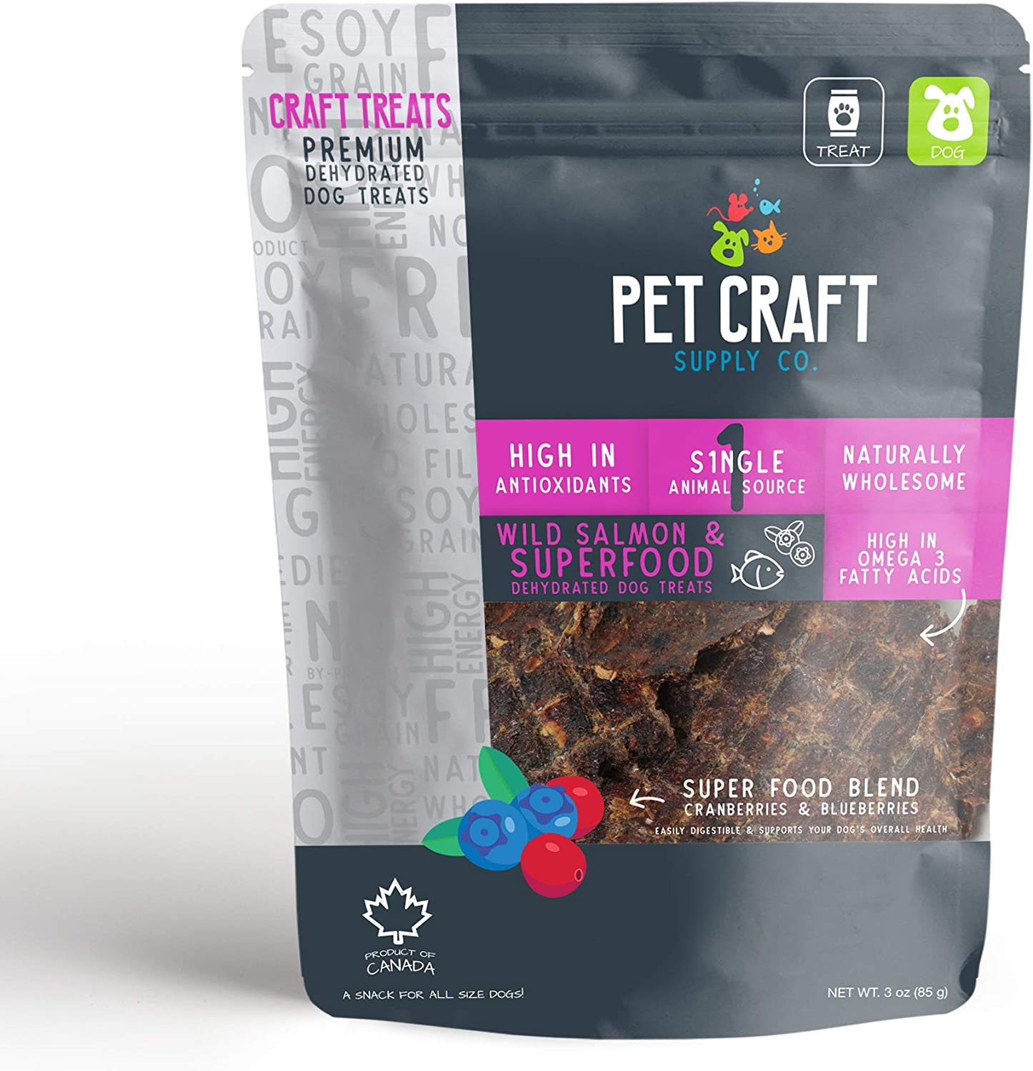 Pet Craft Supply All Natural Dehydrated Pork Beef Liver Salmon Treats Healthy Human Grade for Small Medium Large Dog Senior Puppy Training Protein Rich Healthy Vitamins No Additives Made in Canada