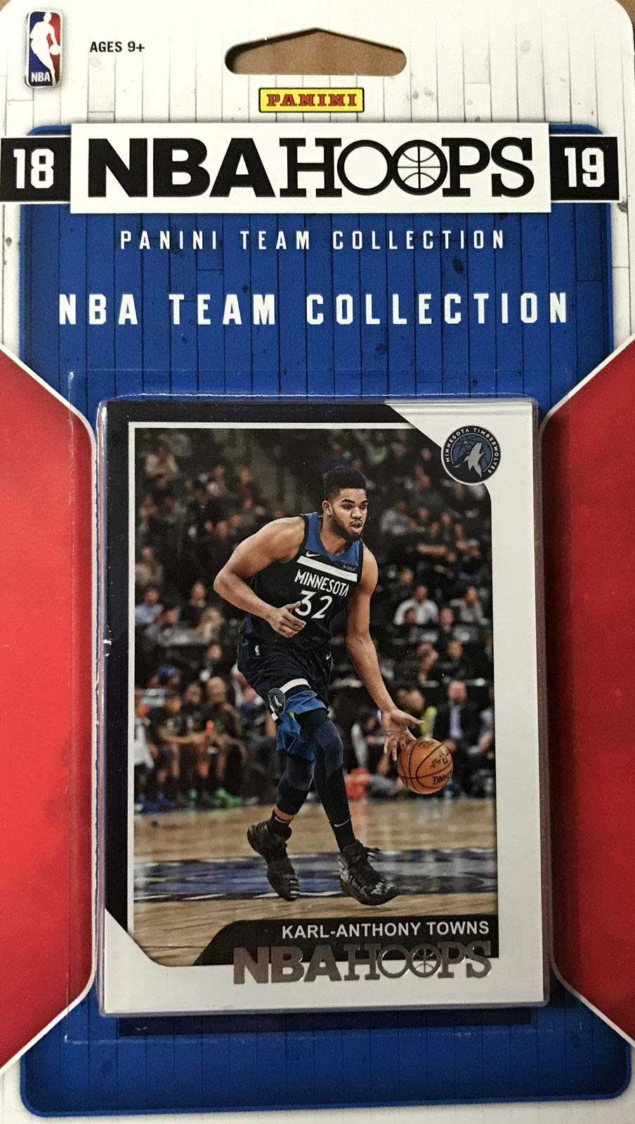 Minnesota Timberwolves 2018 2019 Hoops Basketball Factory Sealed 11 Card NBA Licensed Team Set with Karl Anthony Towns and Tyus Jones Plus Rookie Cards of Keita Bates Diop and Josh Okogie and More