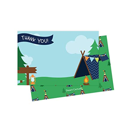 Camping Christmas Cards.Camping Thank You Cards 25 Count With Envelopes And Seal Stickers Bulk Birthday Party Bridal Blank Graduation Kids Children Boy Girl Baby Shower