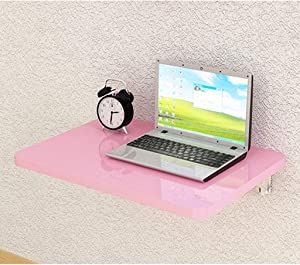 Wall-Mounted Drop-Leaf Table, Folding Shelf Solid Wood Laptop Desk, Space Saving Hanging Table for Study, Bedroom, Bathroom, or Balcony