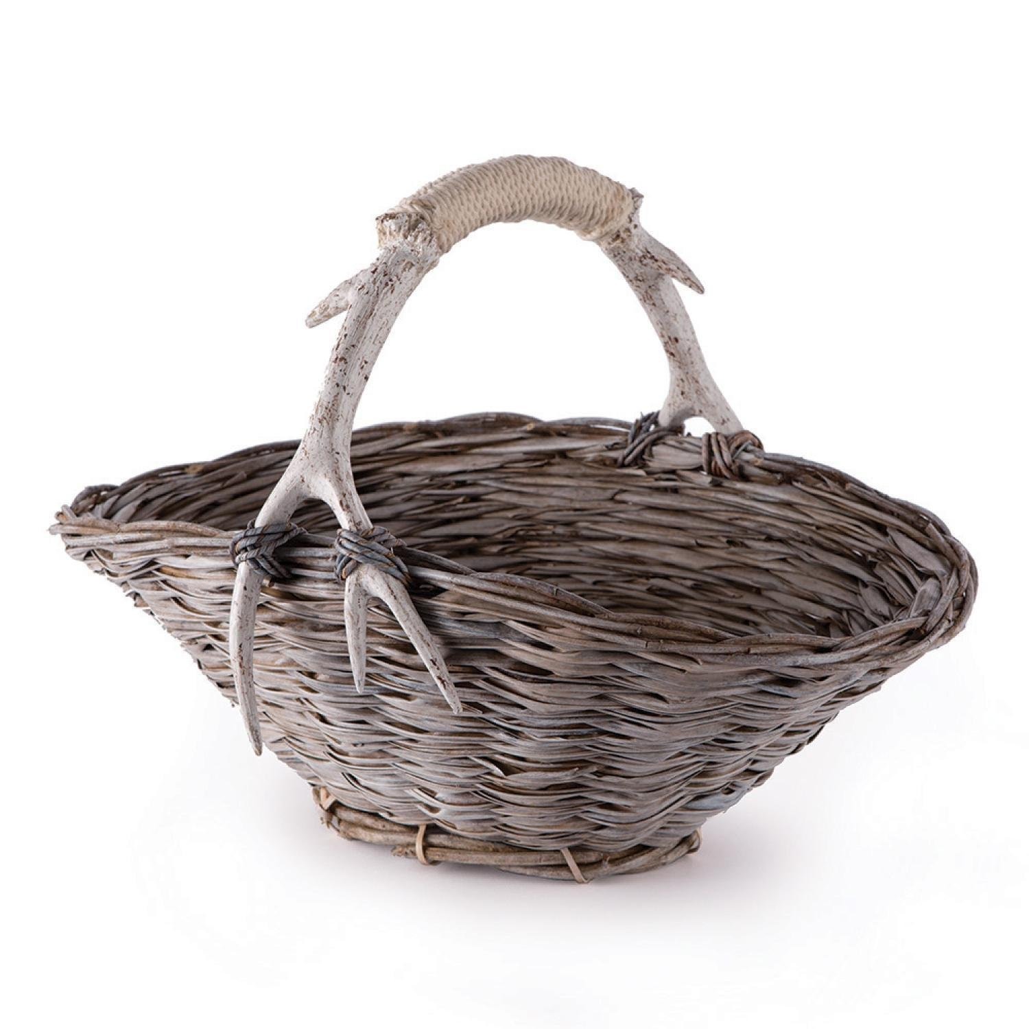 CC Home Furnishings Weathered Gray and Beige Faux Antler and Rope Wrapped Handle Hand Woven Flower Basket