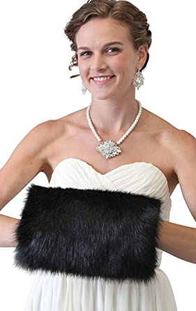 Women Faux Fur Hand Muff Large Warm Hand Muffs For Wedding