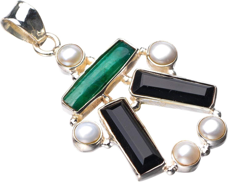 StarGems E0266 - Colgante de plata de ley 925 natural de ónix negro, esmeralda y perla de río