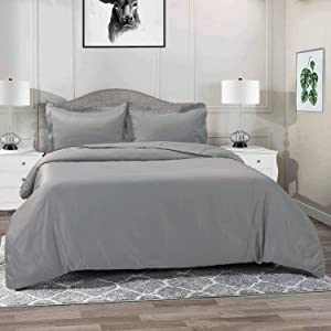 Vailge 3-Piece 120gsm Microfiber Duvet Cover Set,Ultra Soft Double Brushed MicrofiberHotel Collection Bedding,Durable and Breathable Comforter Cover with Zipper Closure & Corner Ties(Queen,Grey)