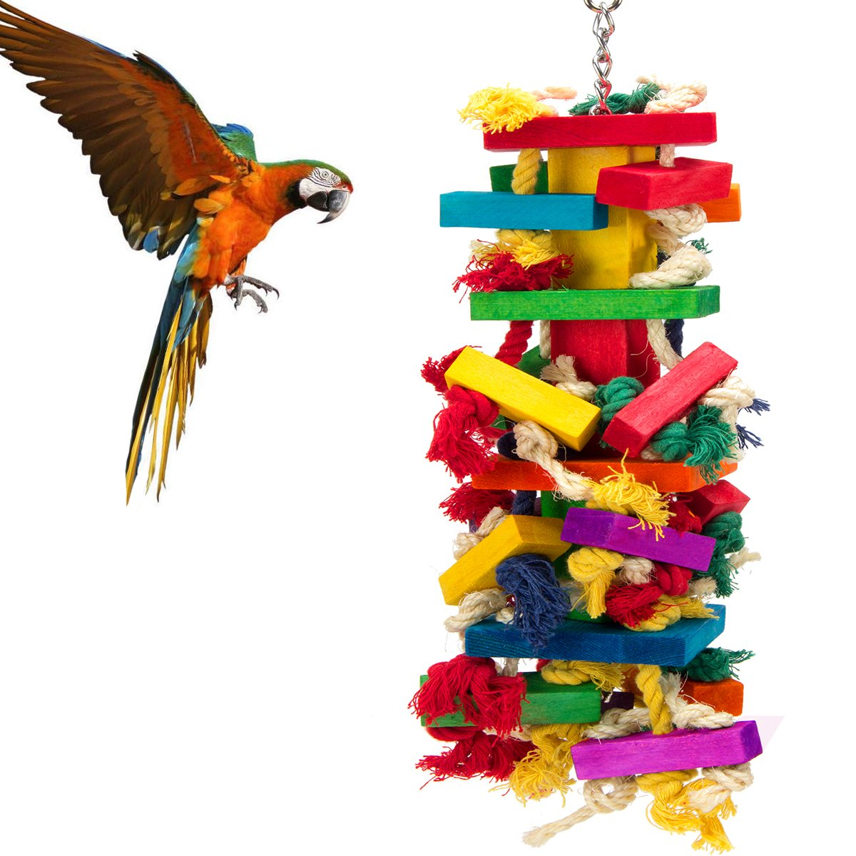 MEWTOGO Extra Large Bird Parrot Toys for Cockatoos African Grey Macaws by MEWTOGO