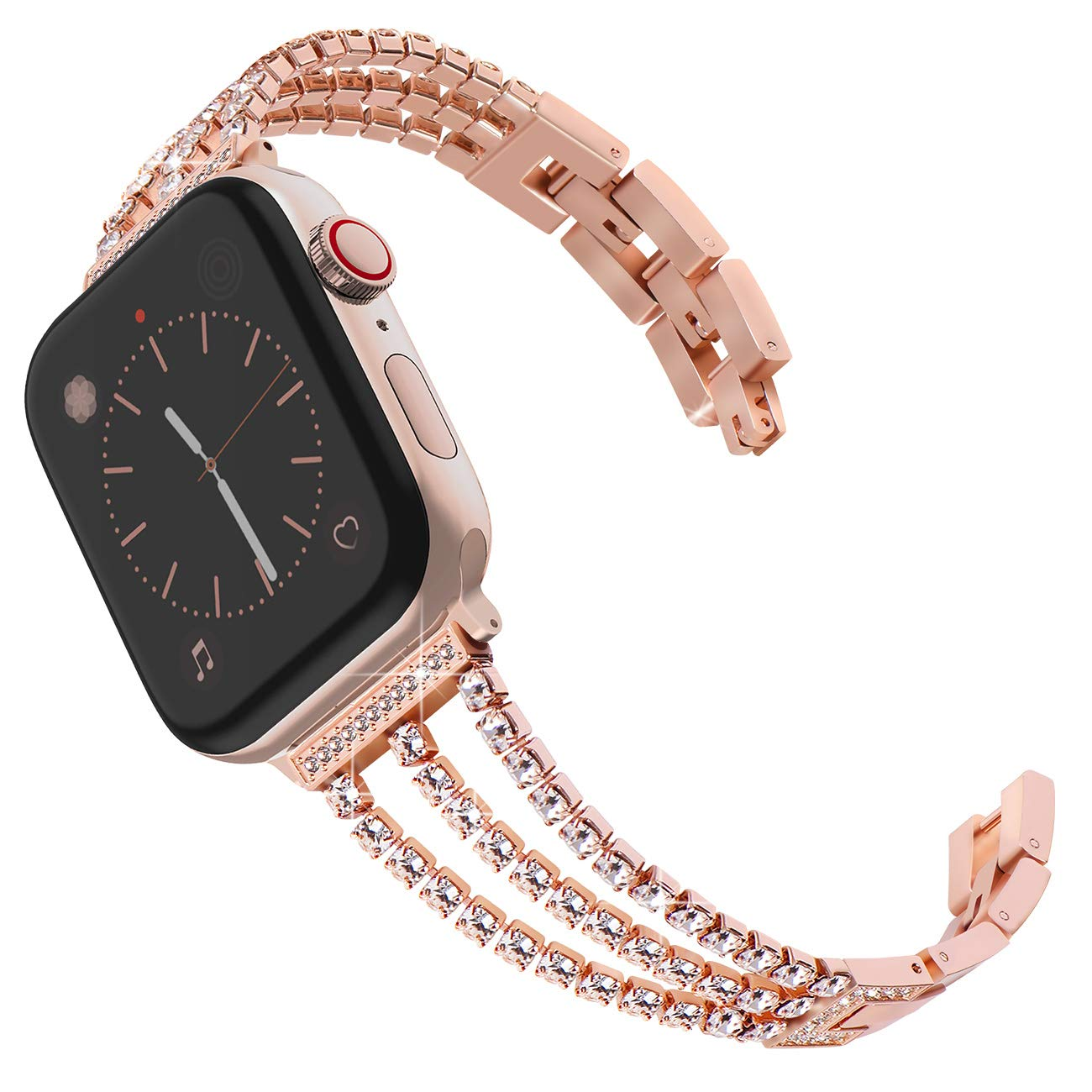 Surace Compatible for Apple Watch Bands 38mm 40mm Women Cuff Bracelet Stainless Steel Band with Diamond Replacement for iWatch 40mm Series 4/3/2/1 Rose Gold