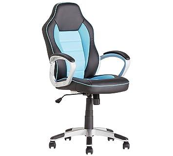 Silla giratoria para oficina, escritorio o juegos, de piel sintética ...