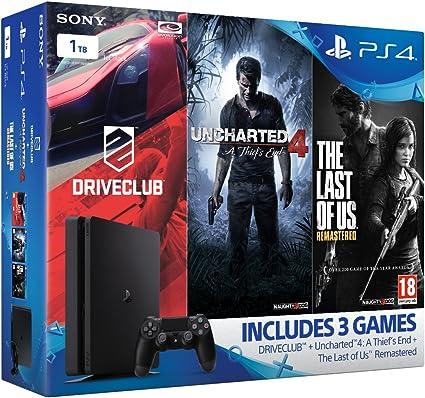 Sony Playstation 4 1 TB Slim Gamer Pack Bundle (Uncharted 4, The Last Of Us, Driveclub) [Importación Inglesa]: Amazon.es: Videojuegos