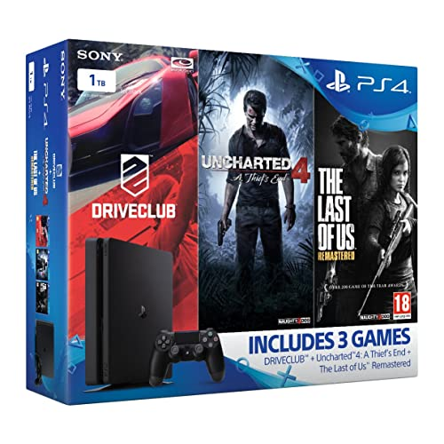 Sony PlayStation 4 1TB Slim Gamer Pack Bundle (Uncharted 4, The Last of Us, DriveClub)