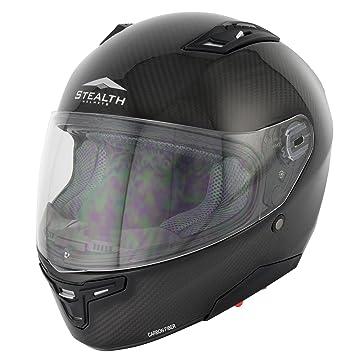 Stealth F117 Moto Casco de plástico Fibras de Carbono, hd117, Hombre Mujer, Carbon