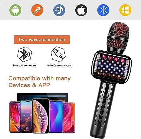 RCTOYS Portátil Micrófono Karaoke Bluetooth con Altavoz, Micrófono ...