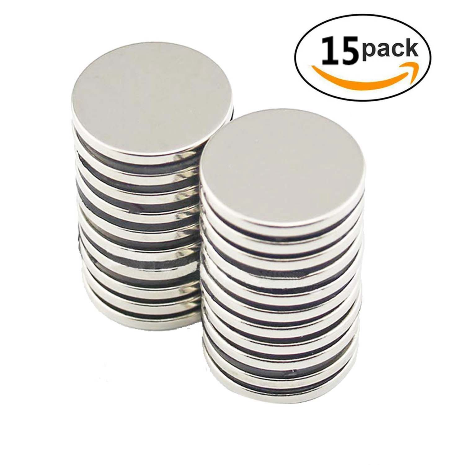 ZHW Neodymium Magnets N52-Rare Earth Magnets – Round 1'' D x 0.2'' Thin Magnetic Discs – Craft, Science Or DIY Magnets Pack of 15