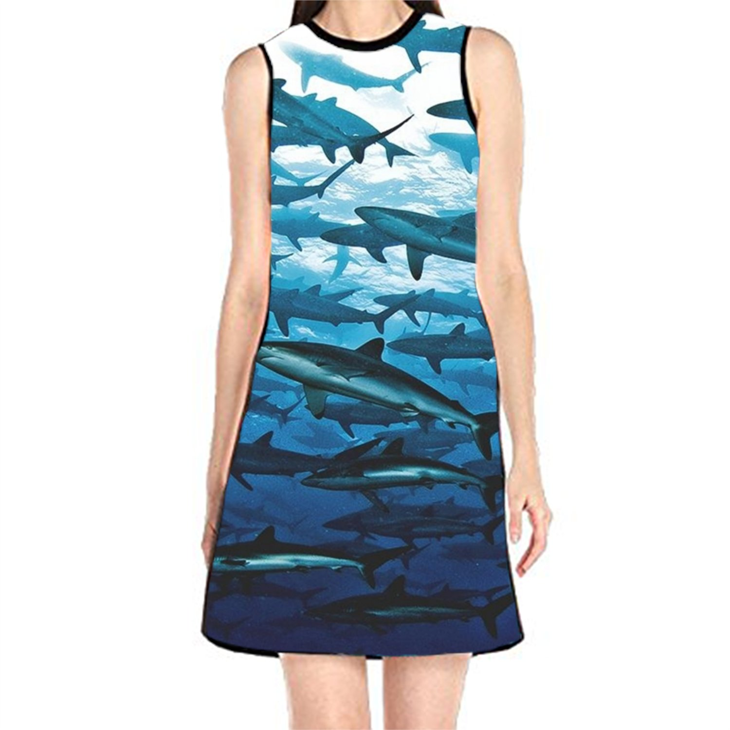 BOBOSELL Womens Tank Sundress Sleeveless Purple Lips Print T Shirt Dress