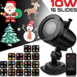 Syslux Christmas Projector Lights, 10W 16 Excluxive Design Slides Garden Lighting IP65 Waterproof Landscape Motion Projection Light with Remote Control, 32ft Power Cable for Every Occasion and Holiday