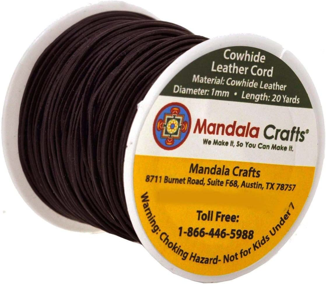 Mandala Crafts Round Cowhide Genuine Leather String Cord 1mm, Rust Natural Rawhide Rope for Jewelry Making Kumihimo Braiding Shoelaces