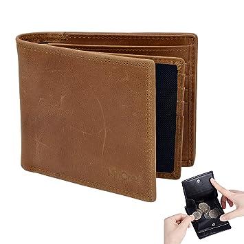 8eae9db601b05 WinCret RFID Schutz Geldbeutel Herren - Hochwertigem Echt-Leder Geldbörse  Männer im Querformat mit Großen