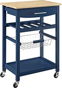 Linon Home Decor Products Pascal Kitchen Cart, Denim with Wood Top