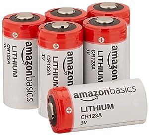 AmazonBasics Lithium CR123a 3 Volt Battery - Pack of 6