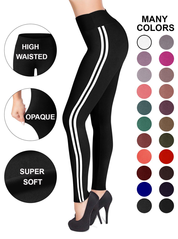 Sejora Satina High Waisted Leggings - 25 Colors - Super Soft Full Length Opaque Slim (One Size, Striped Black)