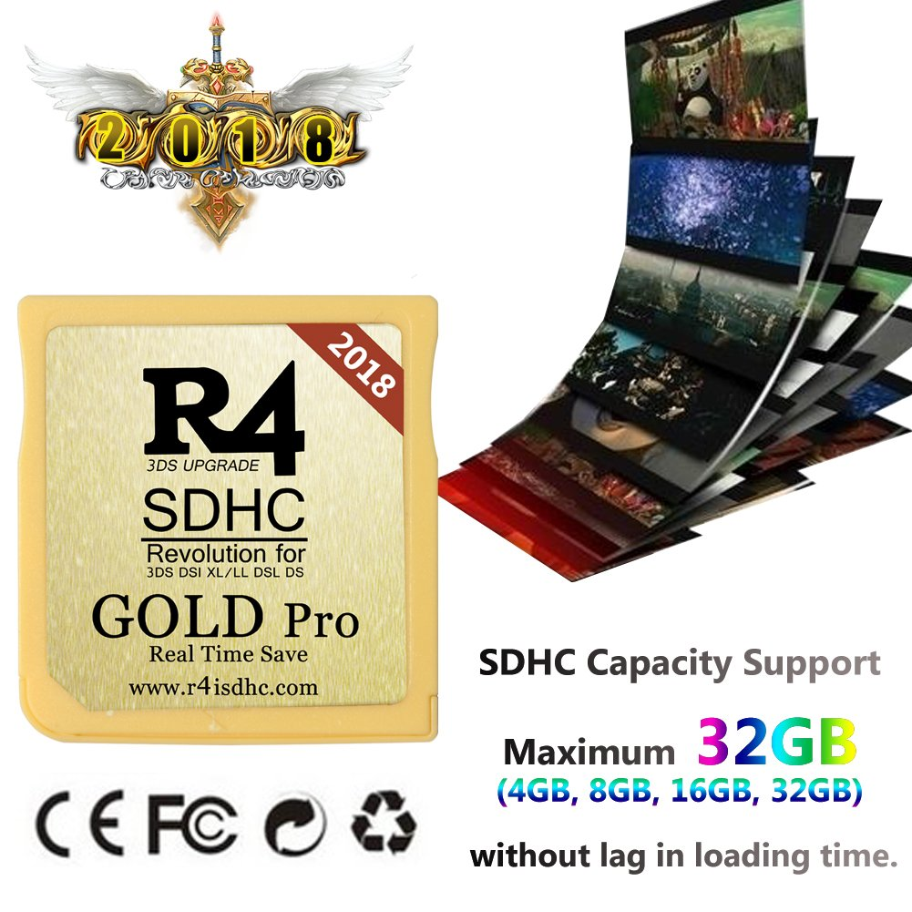 2018 R4i SDHC Gold Pro with USB Adapter for DS, DSI, 2DS