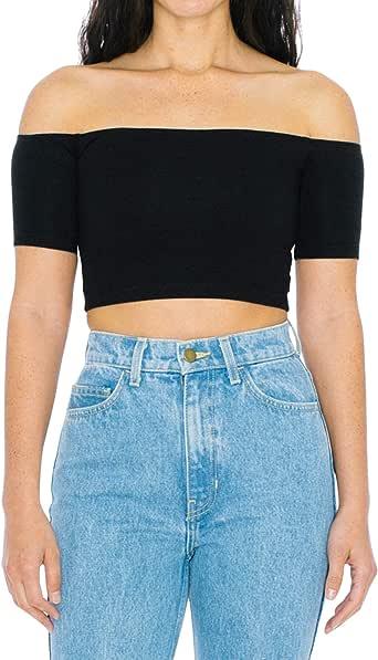 American Apparel Women's Cotton Spandex Off-Shoulder Short Sleeve Crop Top, Black, X-Small