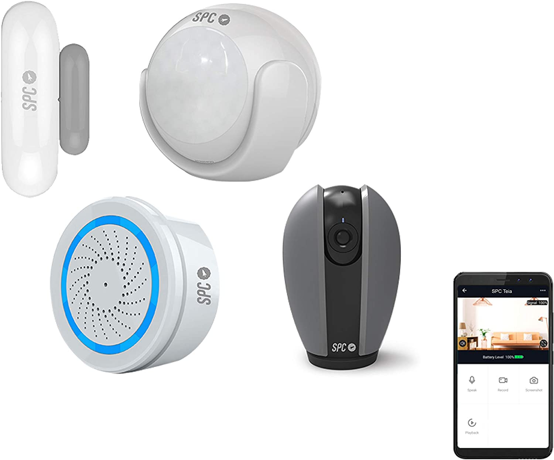 SPC 6910K Security Starter Kit + Teia: 2 sensores (Movimiento y Puertas/Ventanas), Alarma, 3 Bombillas de Color/Blanco, Cámara Inteligente Wi-Fi 360º, Compatible con Amazon Alexa y Google Home: Spc-Internet: Amazon.es: Electrónica