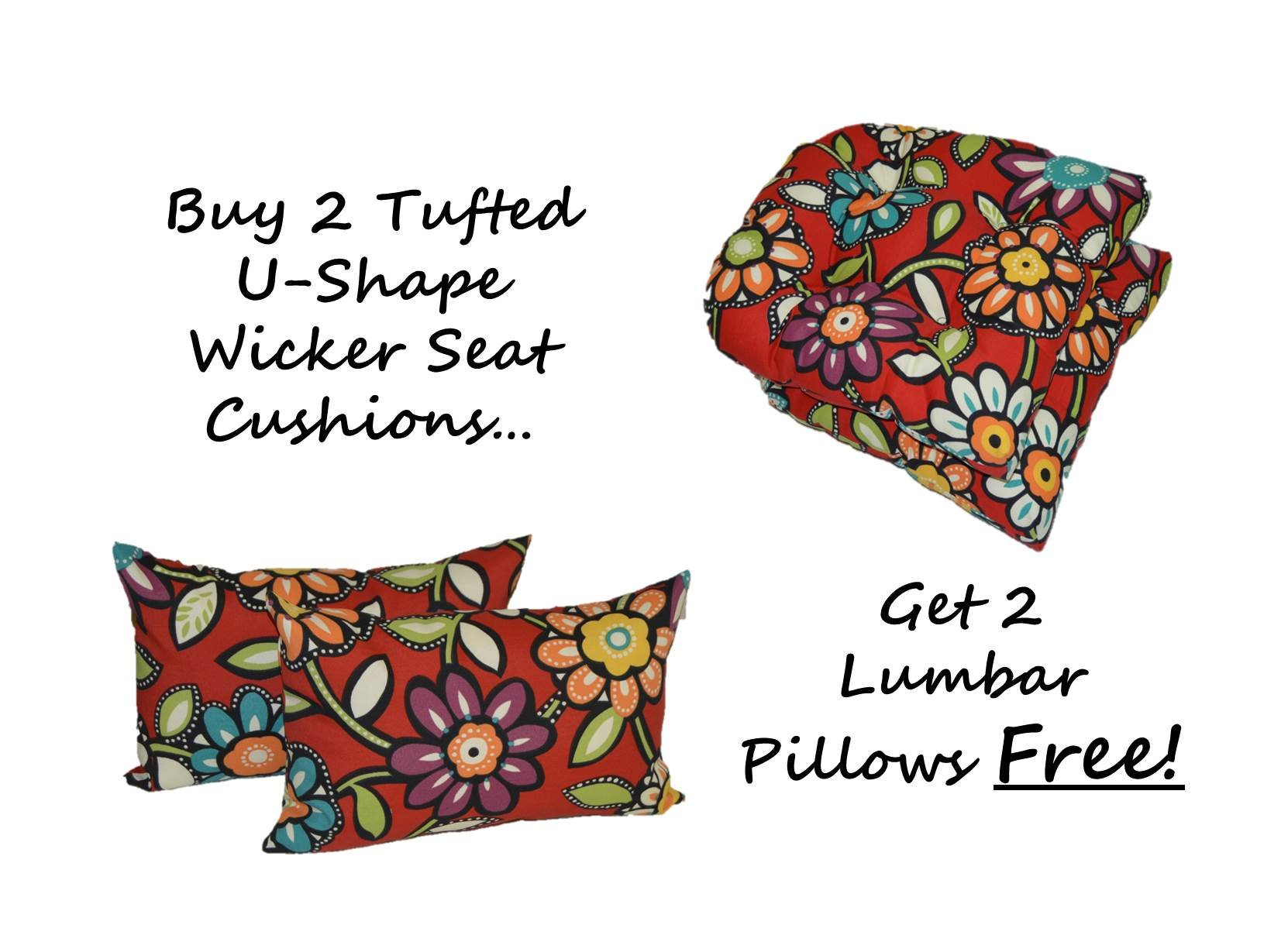 Set of 2 - Indoor / Outdoor Universal Tufted U-shape Cushions for Wicker Chair Seat - Red, Blue, Green, Purple Contemporary Floral + 2 Free Lumbar / Rectangle Pillows