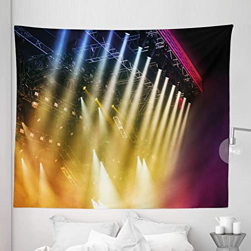 Lunarable Musical Theatre Tapestry King Size, Colorful Rays Concert Dance Music Staging Technology Smoky Night Print, Wall Hanging Bedspread Bed Cover Wall Decor, 104 X 88 , Multicolor