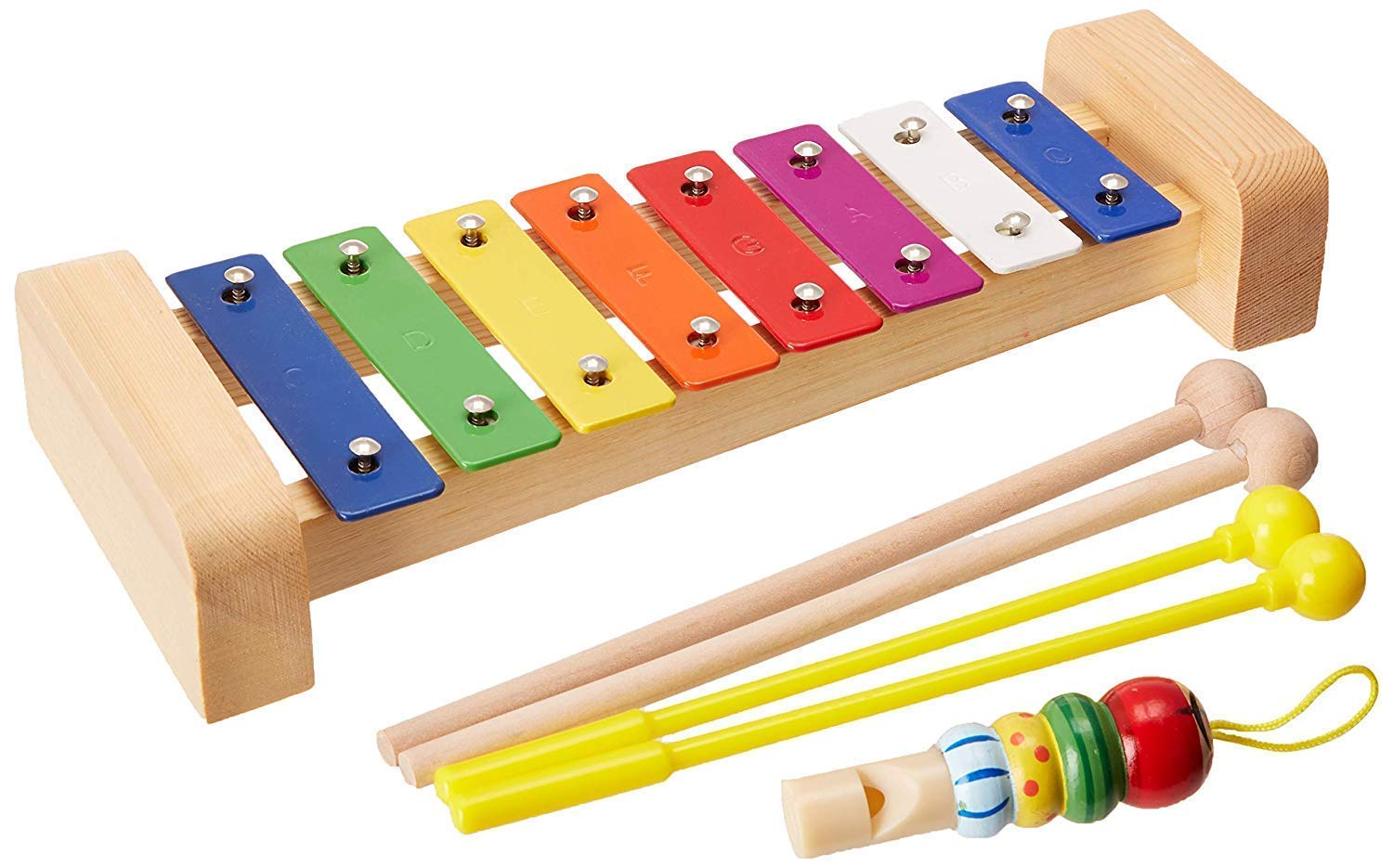 Xylophone for Kids: Glockenspiel Toy Best Birthday/Holiday Gift Idea - With(Four) Child-Safe Mallets 2 Wood 2 Plastic, 3 Music Card & Whistle Included by aGreat Shark (Image #2)