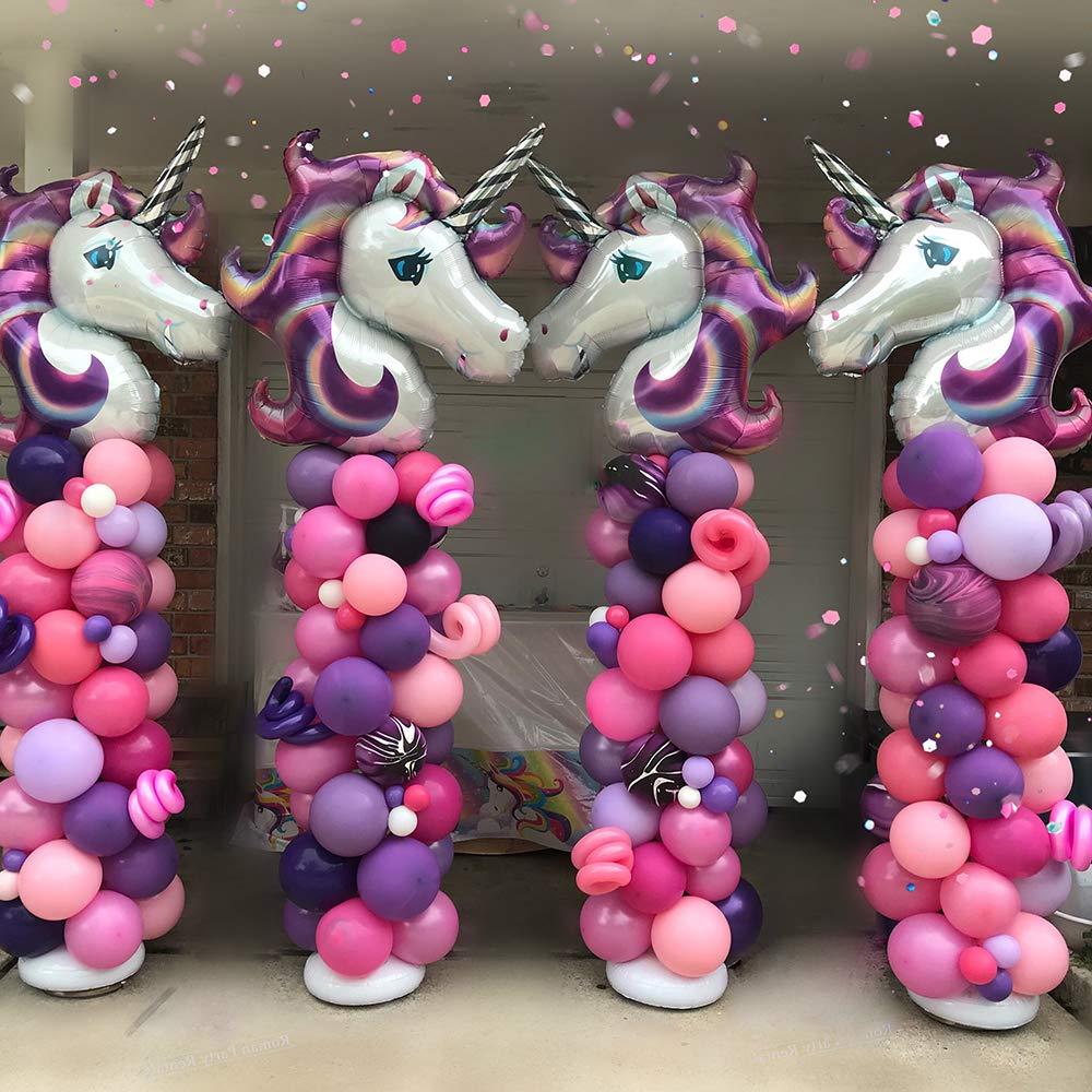 MMTX Decoraciones de Fiesta de Unicornio, con 2pcs Enorme Globo de Unicornio, Feliz Cumpleaños Ballon Banner, Para niña Pequeña Fiesta de Cumpleaños ...