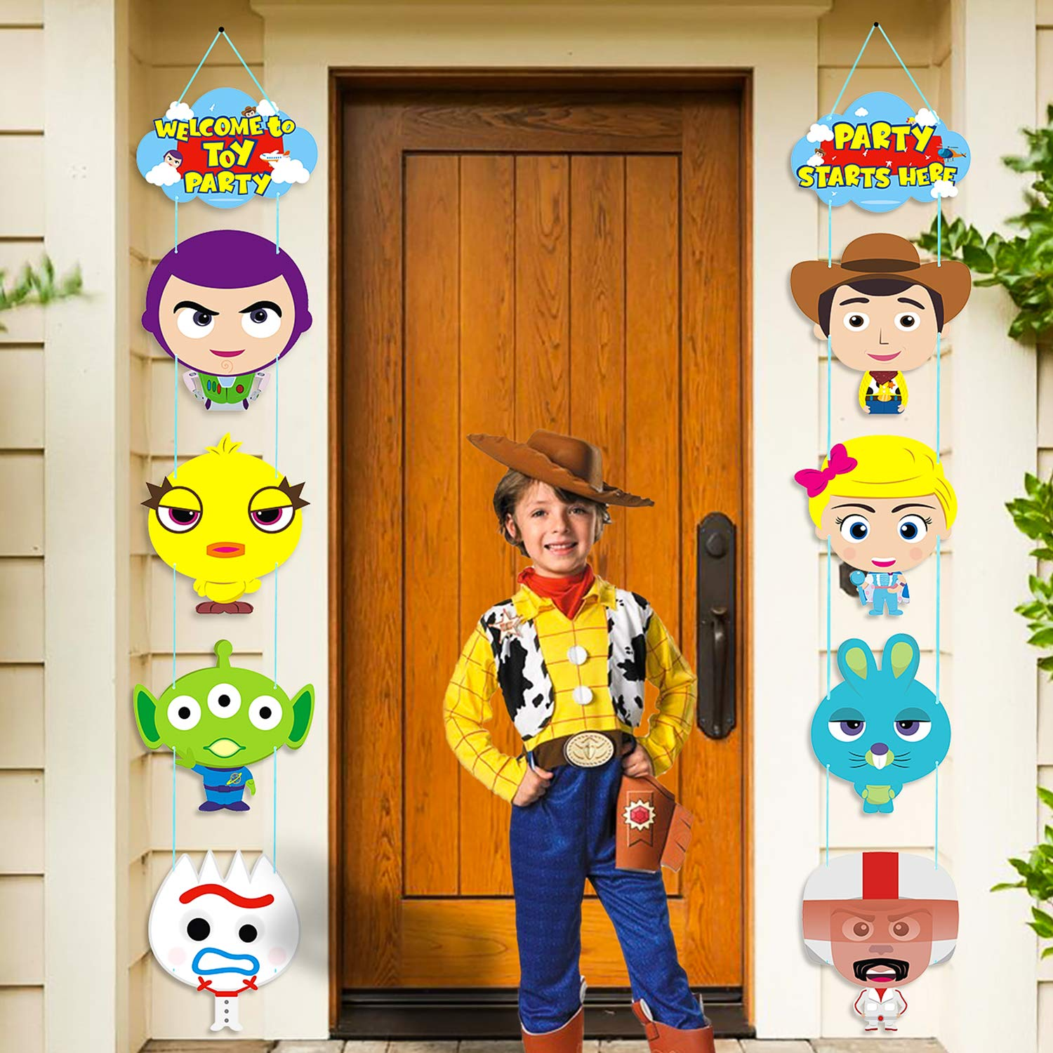 TICIAGA 10pcs Toy Inspired Story Porch Sign, Hanging Sign Wall Decoration Toy 4th Party Banner, Door Cardborad Cutout Signs Outdoor Decoration, Hanging Cards Kit for Toy 4th Theme Party Decoration