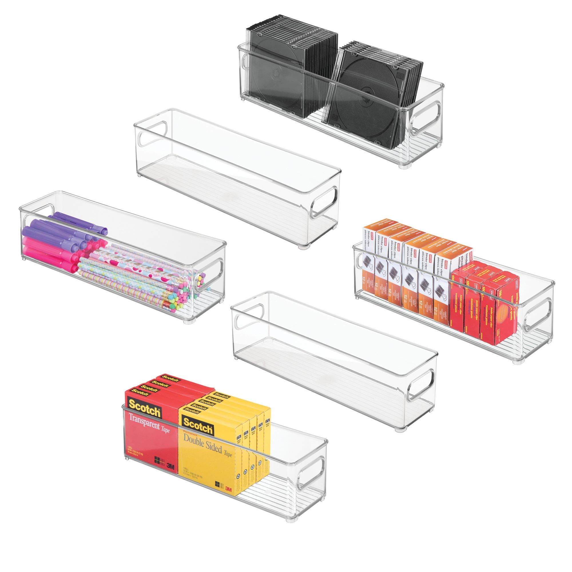 mDesign Stackable Plastic Storage Bin Container, Desk and Drawer Organizer Tote with Handles for Storing Gel Pens, Erasers, Tape, Pens, Pencils, Highlighters, Markers - 14.5'' Long, 6 Pack - Clear
