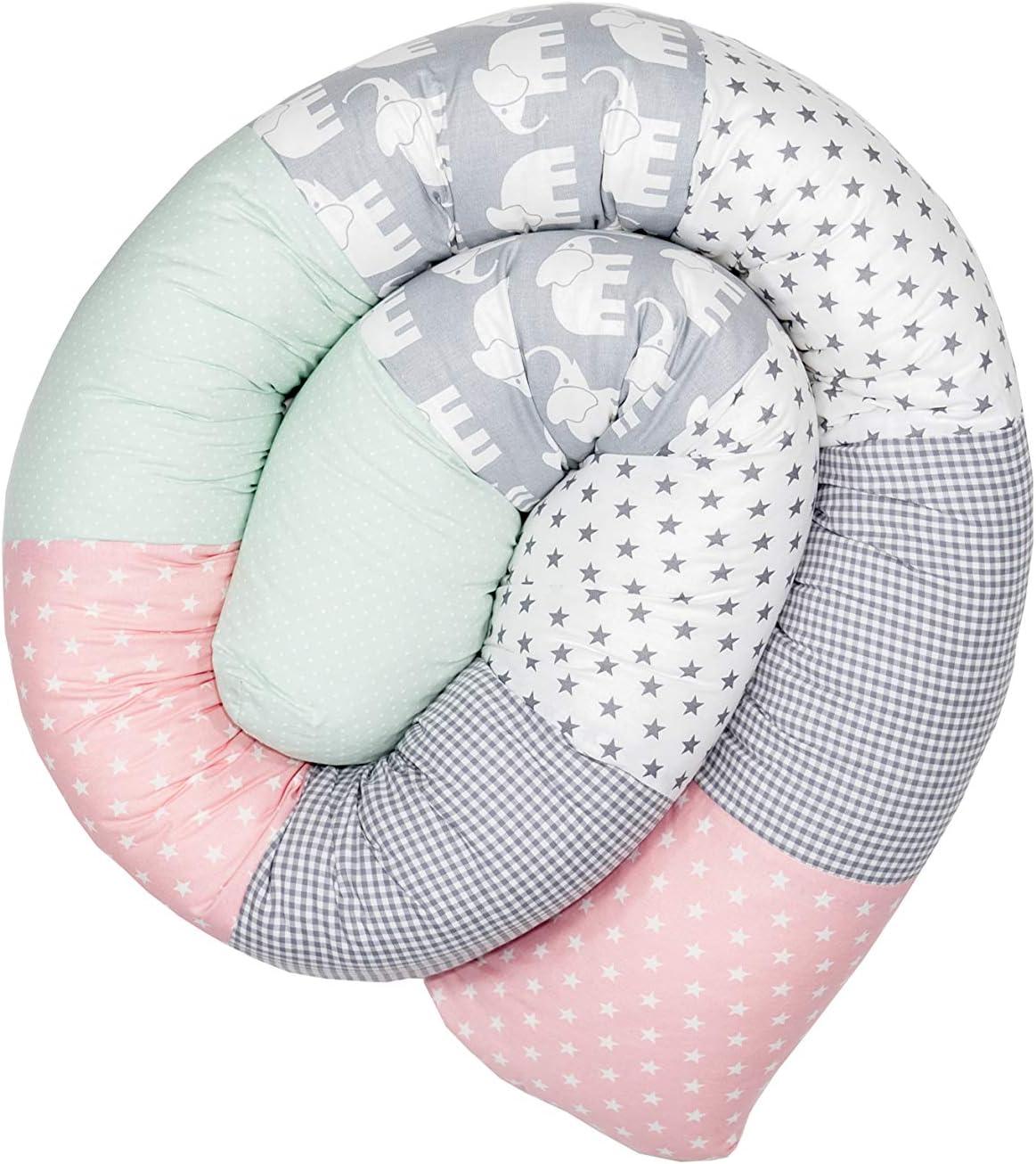 Cojín protector para cuna de ULLENBOOM ®, cojín chichonera en forma de serpiente elefantes menta rosa (ideal para proteger al bebé de los barrotes de la cuna o como cojín de apoyo)