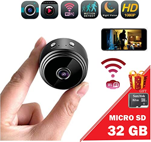 Promo Mini spy Camera Wireless WiFi HD 1080P Portable Home Security Camera Gift Memory Micro SD 32gb with Motion Detection Alert Sound Video Night Vision for iPhone Android Phone iPad PC