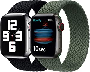 Girovo 2 Packs Solo Loop Strap Compatible with Braided Sport Apple Watch Band 38mm 40mm, Soft Stretchy Braided Wristband for iwatch Series 1/2/3/4/5/6/SE, Charcoal & Green, S