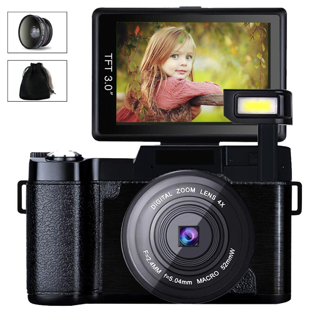 Digital Camera Camcorder, Weton FHD 1080P Video Camera 24.0MP 3.0 Inch Flip Screen Vlogging Camera LCD Mini Camcorders with Wide Angle Lens and Flash Light by Weton